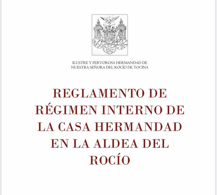 Borrador del reglamento de régimen interno de la Casa Hermandad en el Rocío.